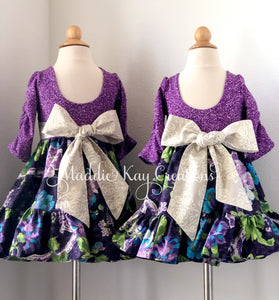 Violette Blooms 2T & 4T - Elbow length knit bodice dress