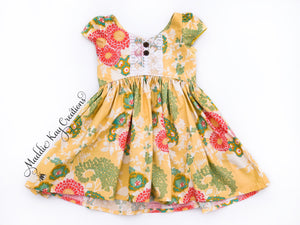 Sunny Yellow Floral Cap Sleeve Dress