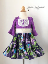 Load image into Gallery viewer, Violette Blooms 2T & 4T - Elbow length knit bodice dress