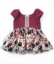 Load image into Gallery viewer, burgundy floral cotton tunic top winter lace bow cap sleeve toddler girls outfit