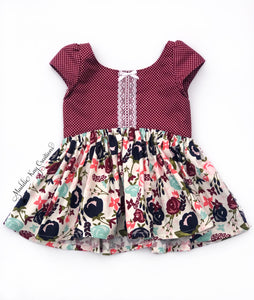 burgundy floral cotton tunic top winter lace bow cap sleeve toddler girls outfit