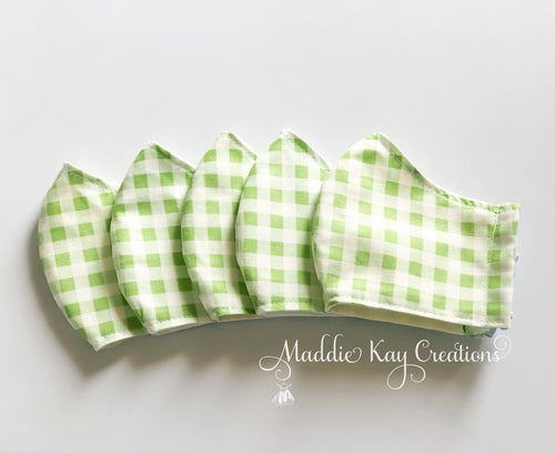 Kids Green Gingham Masks