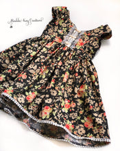 Load image into Gallery viewer, Charcoal Blooms - Toddler & Girls Floral Dress