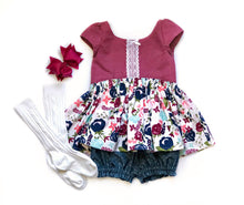 Load image into Gallery viewer, Toddler girl tunic top matching chambray bloomers bloomer set