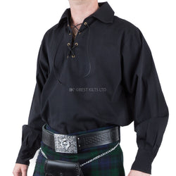 Mens Traditional Kilt Jacobilte Ghillie Shirt Black