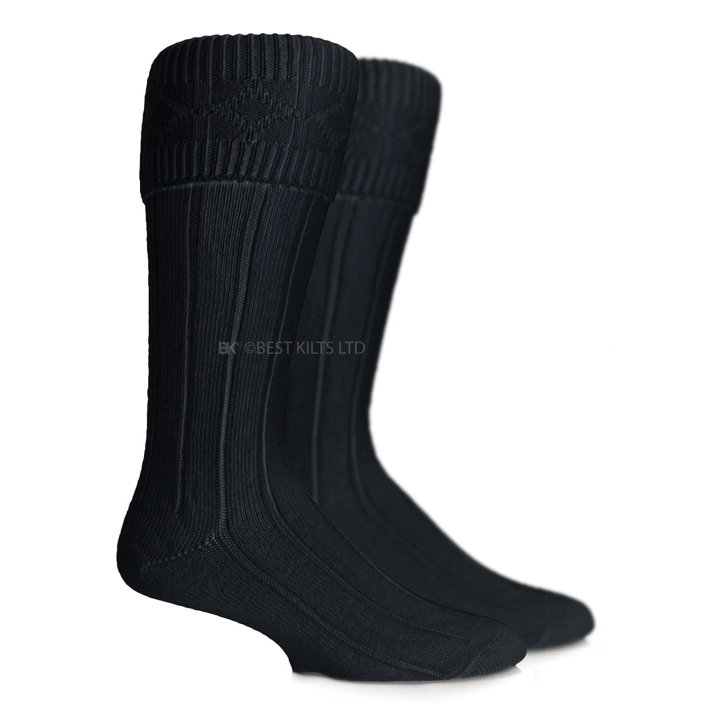 Scottish Highland Wear Kilt Hose Socks Black