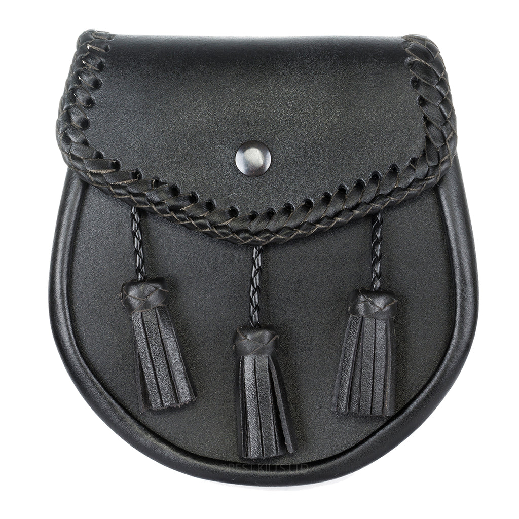 Casual Black Braided Leather Sporran