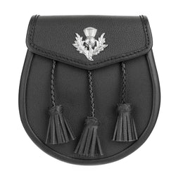 Casual Thistle Leather Sporran with Braided Tassels