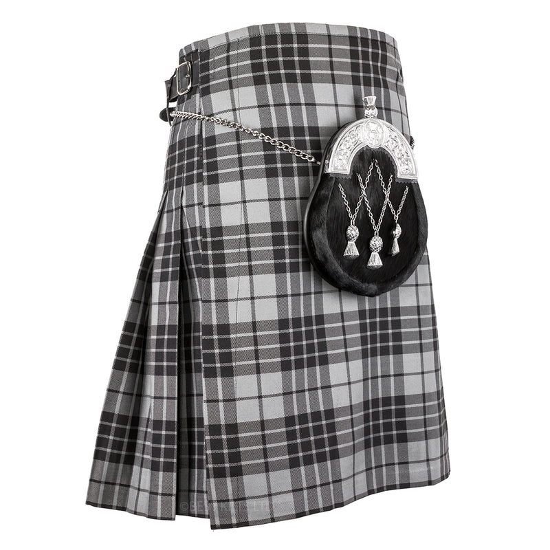 Mens Scottish 5 Yard Party Kilt Granite Grey