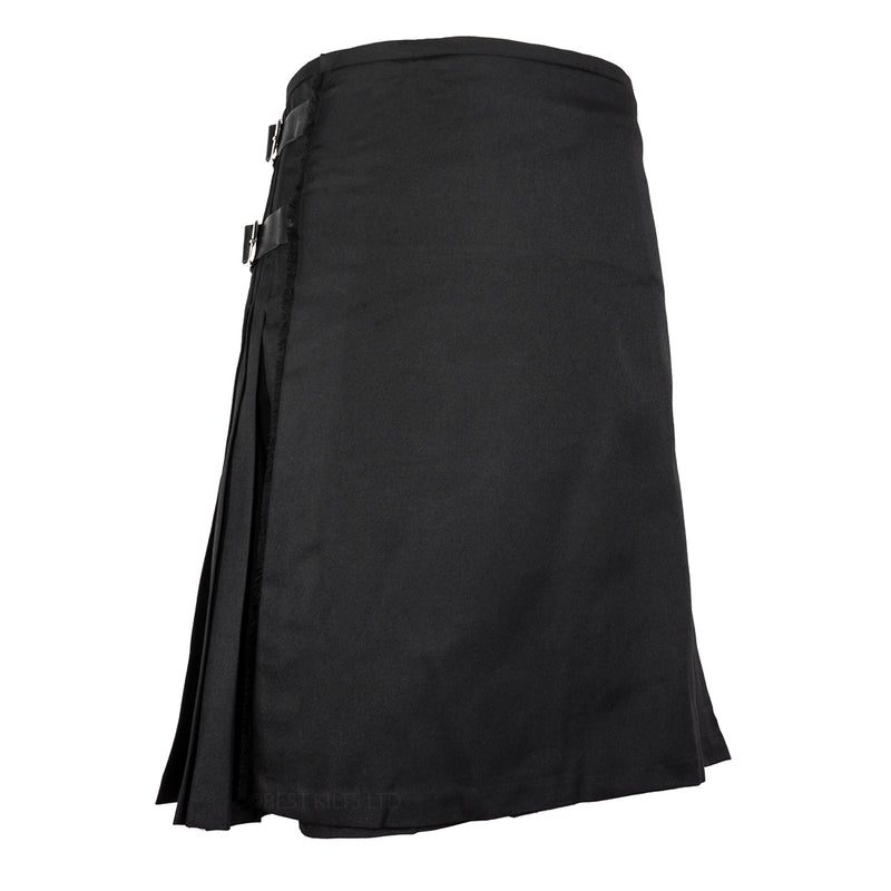 Mens Scottish Traditional 8 Yard Kilt Plain Black