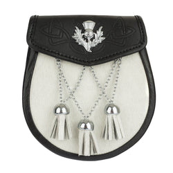 Semi Dress Black Embossed Leather & White Cowhide Thistle Emblem