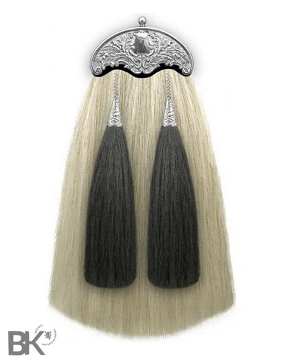 Horse Hair Piper Sporran w/ Thistle Cantle Natural & Black Hair
