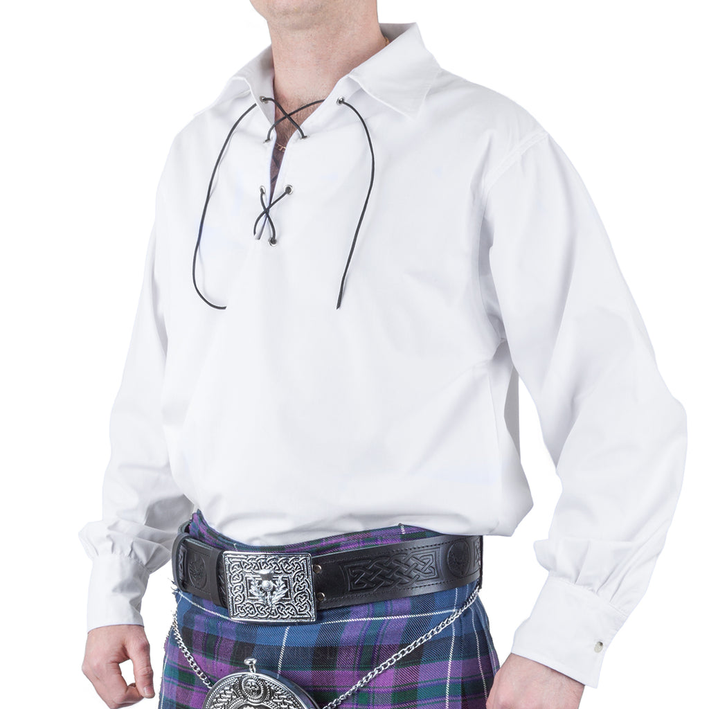 Mens Traditional Kilt Jacobilte Ghillie Shirt White