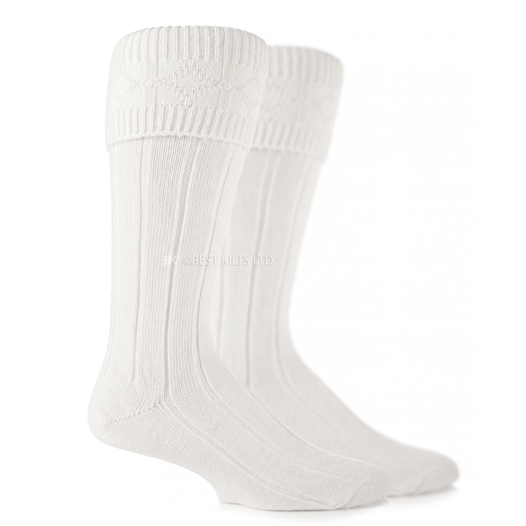 Scottish Highland Wear Kilt Hose Socks White