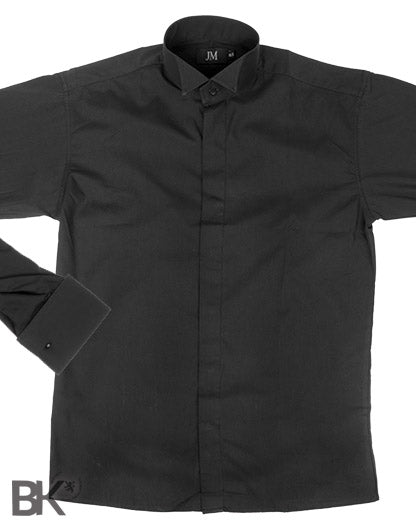 Formal Black Wing Collar Shirt Plain Front