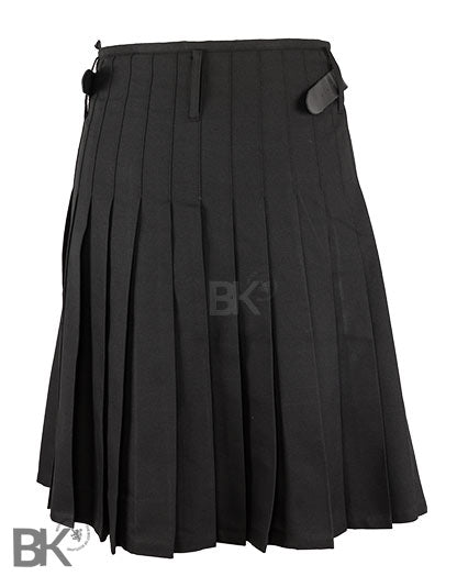 Mens Scottish 5 Yard Party Kilt Plain Black
