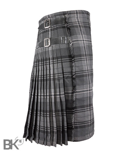 Mens Scottish Traditional 8 Yard Kilt Hamilton Grey