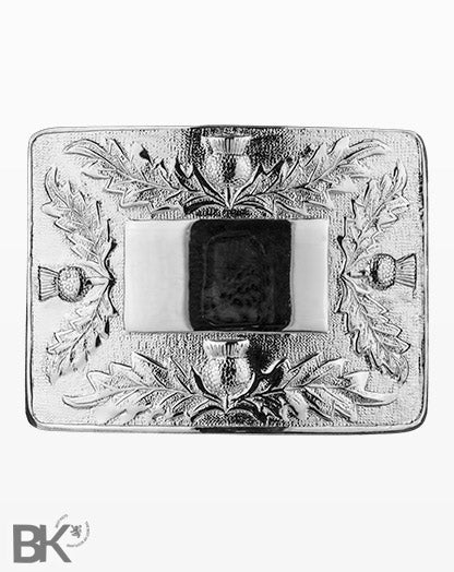 Chrome Belt Buckle 4 Thistles