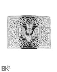 Chrome Belt Buckle Celtic & Thistle Design