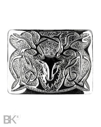 Chrome Belt Buckle Stag Head Design