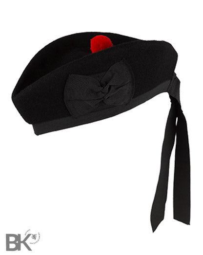 Scottish Piper Black Glengarry Hat