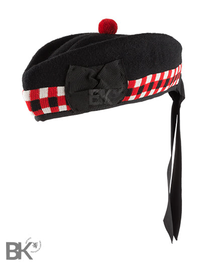 Scottish Piper Red and White Diced Glengarry Hat