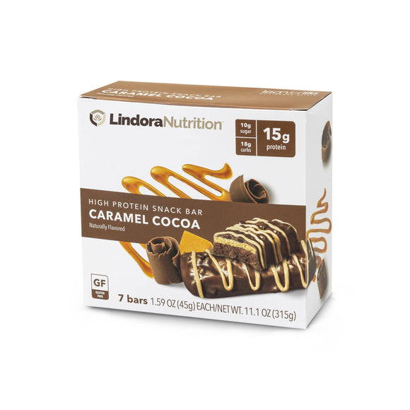 Caramel Cocoa Bar Display Box. 7 Bars per box. 15g Protein & 11g Net Carbohydrates. Gluten Free, Gelatin Free, Aspartame Free, Kosher