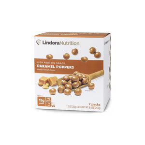 Caramel Poppers Display Box. 7 Packets per Box). 15g Protein & 10g Net Carbohydrates. Aspartame Free.