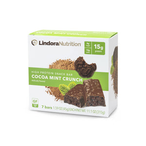 Cocoa Mint Crunch Bar Nutritional Panel.  7 Bars per box. 15g Protein & 9g Net Carbohydrates. Kosher.