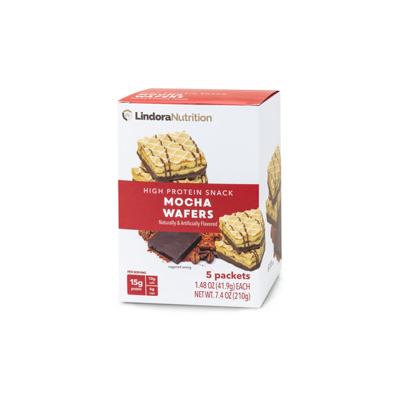 Mocha Wafers Display Box.  5 bags per box (2 wafers per bag). 15g Protein & 12g Net Carbohydrates. Aspartame Free, Corn Syrup Free.