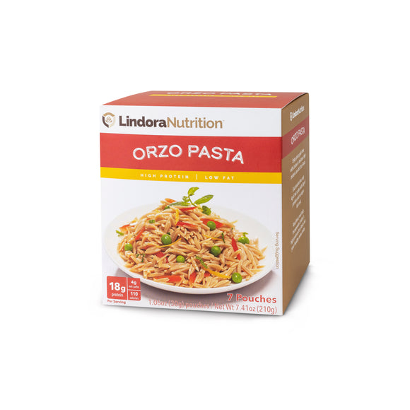 Orzo Protein Pasta Display Box. 7 packets per box. 12g Protein & 6g Net Carbohydrates. Aspartame Free. Lactose Free. Soy Free. Nut Free.
