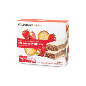 Strawberry Delight Bar Nutritional Panel. 7 Bars per box. 15g Protein & 4g Net Carbohydrates. Gluten Free. Aspartame Free.