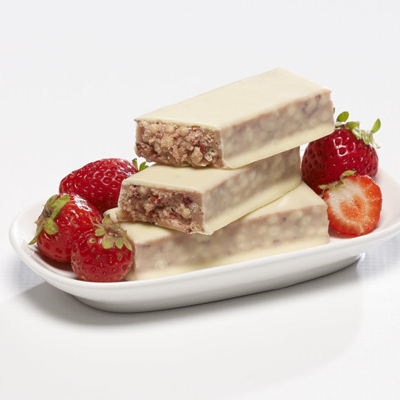 Strawberry Delight Bar. 7 Bars per box. 15g Protein & 4g Net Carbohydrates. Gluten Free. Aspartame Free.