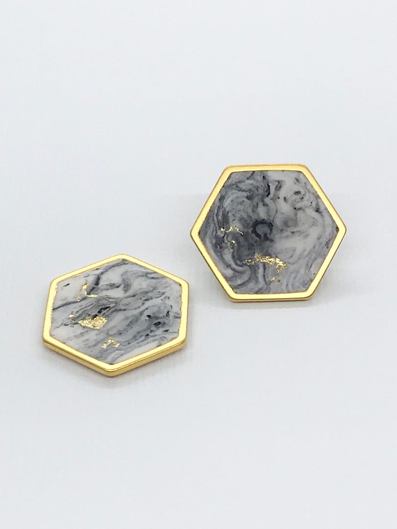 Hexagon Marbled Matte Resin Studs