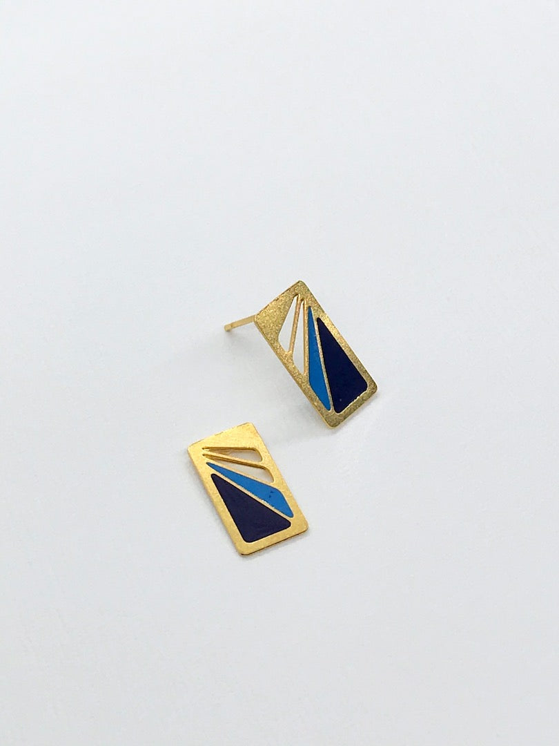 Art Deco Two Toned Blue Rectangle Studs