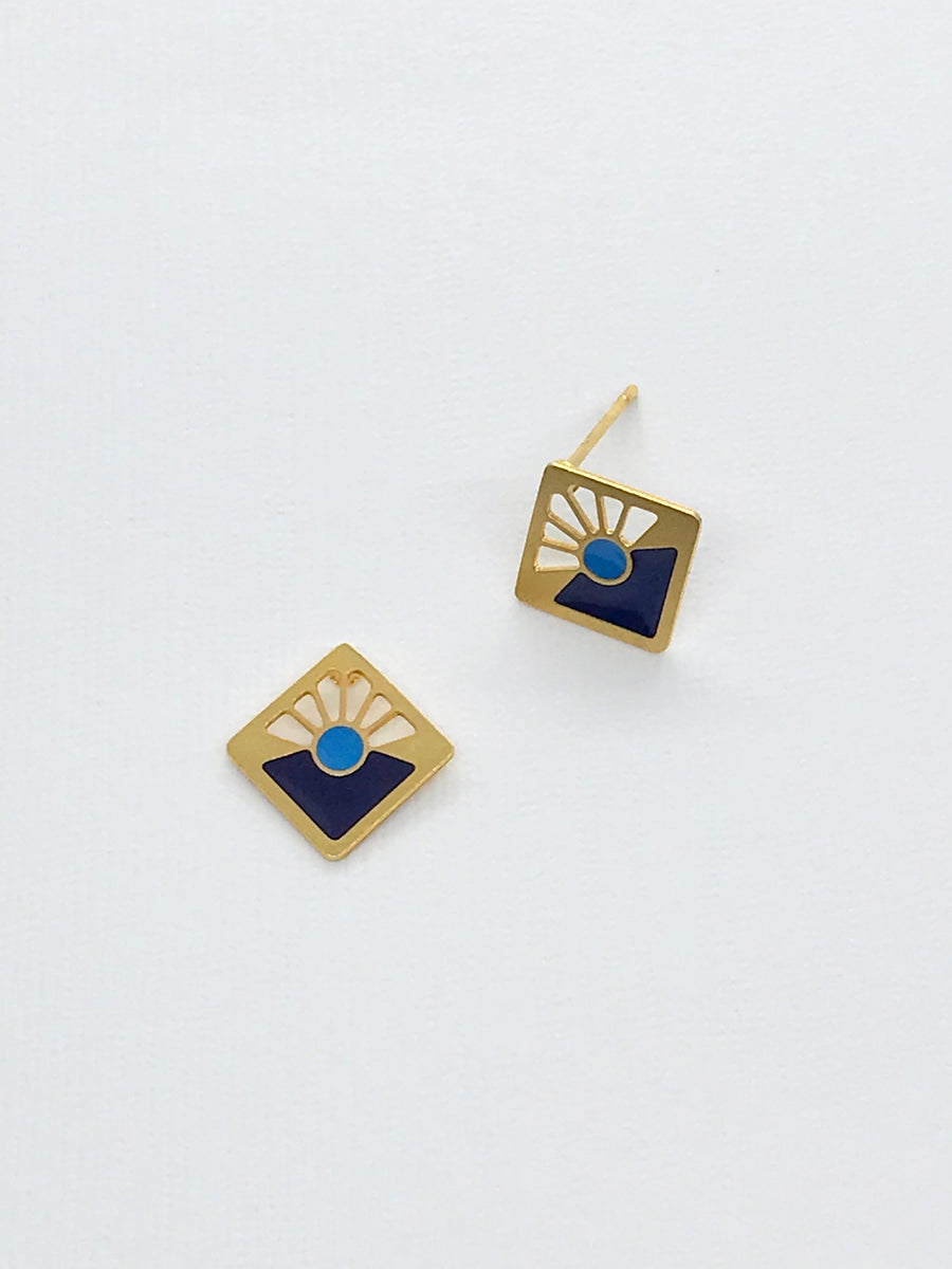 Art Deco Two Toned Blue Square Studs