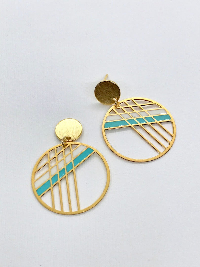Striped Circle Drop Earrings