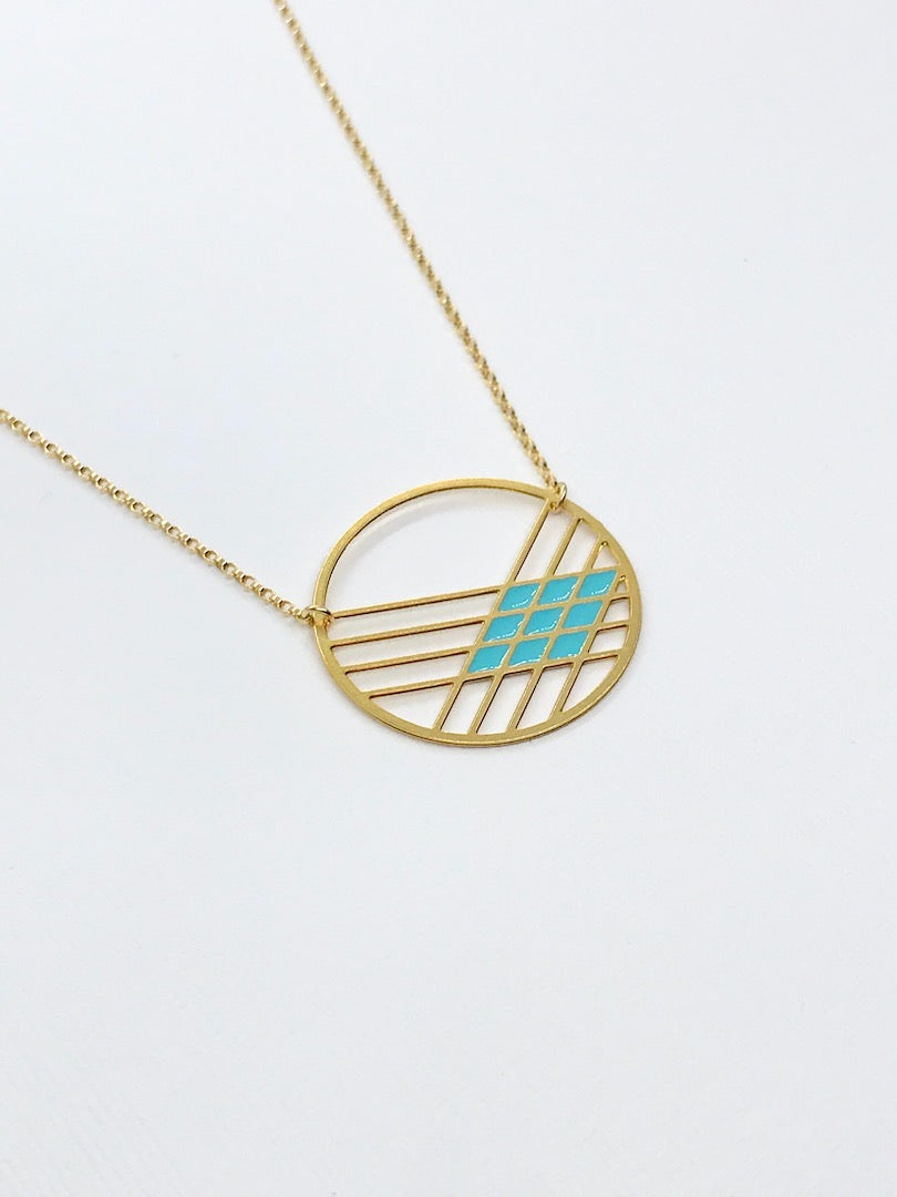 Crosshatch Circle Necklace