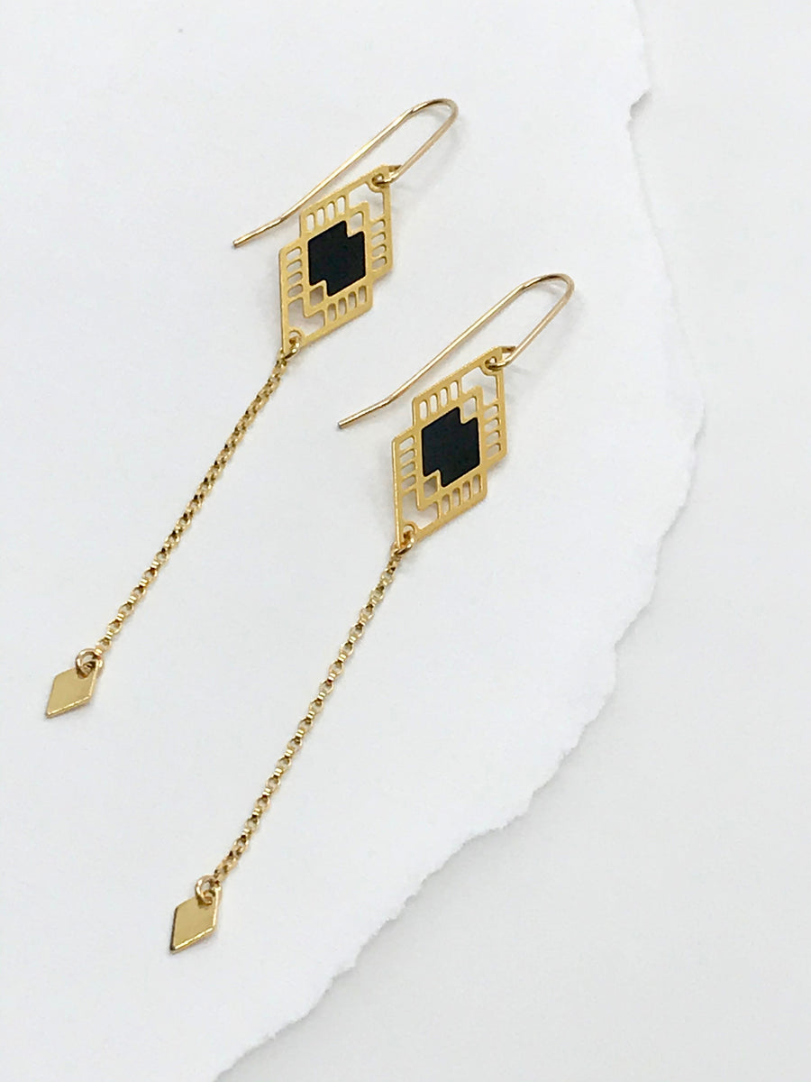 Double Diamond Chain Drop Earrings