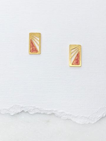 Small Art Deco Rectangle Studs with Resin Inlay