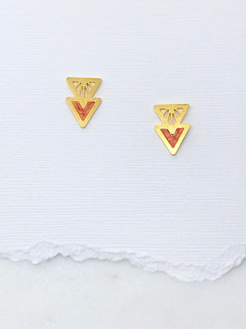 Art Deco Double Triangle Studs with Resin Inlay