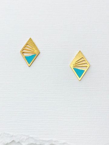 Small Art Deco Diamond Studs with Resin Inlay