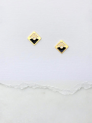 Small Art Deco Square Studs with Resin Inlay