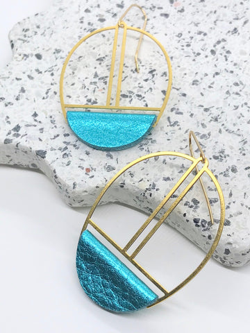 Metallic Turquoise Leather Earrings