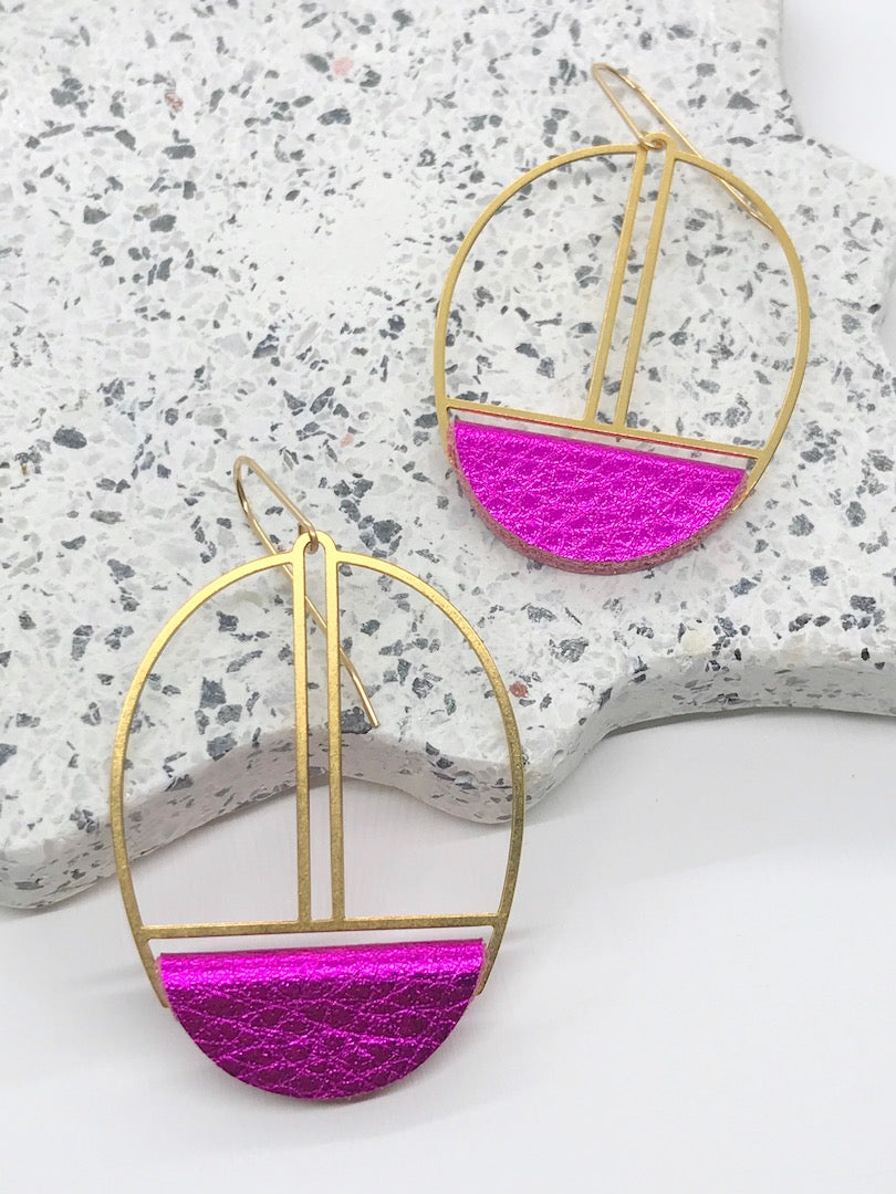 Metallic Fuchsia Leather Earrings