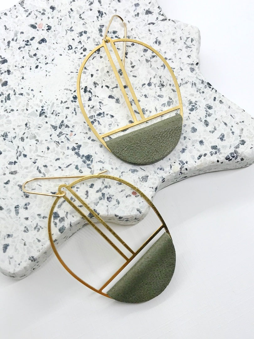 Olive Green Leather Earrings