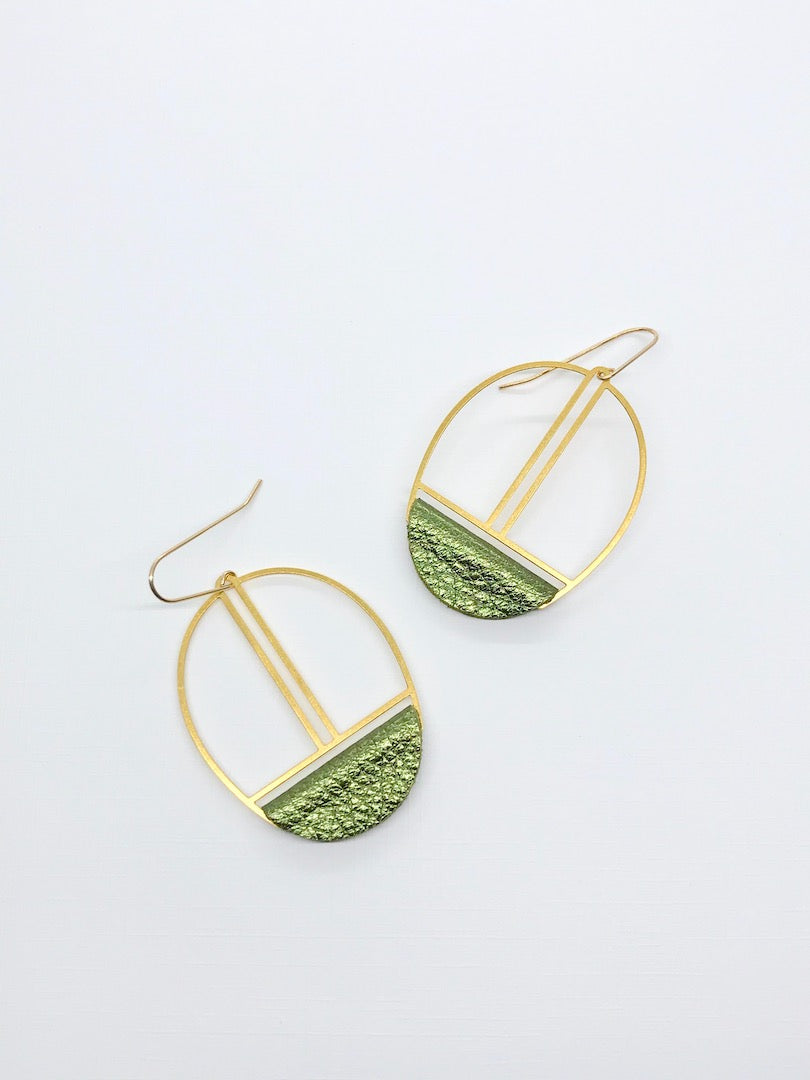 Metallic Green Leather Earrings