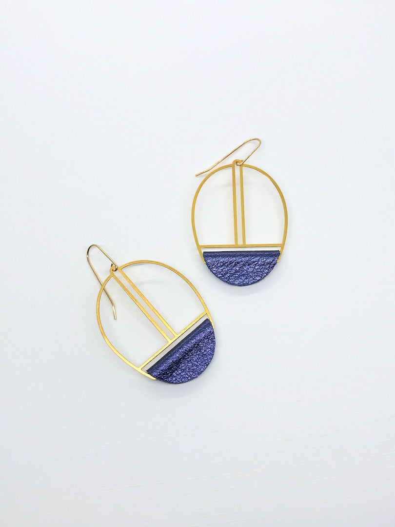 Metallic Navy Leather Earrings