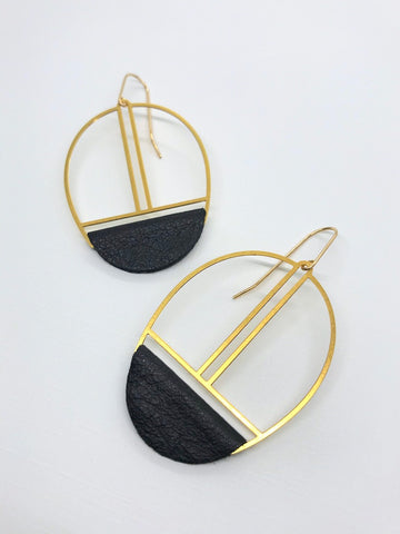 Black Leather Earrings