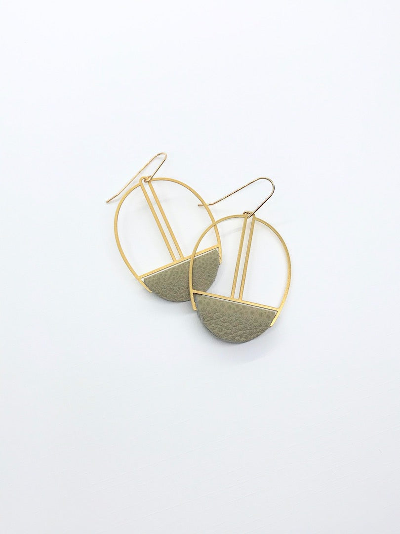 Pale Olive Leather Earrings